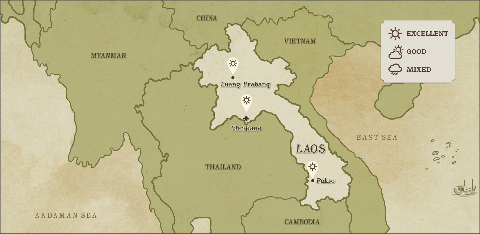 weather map of Laos January