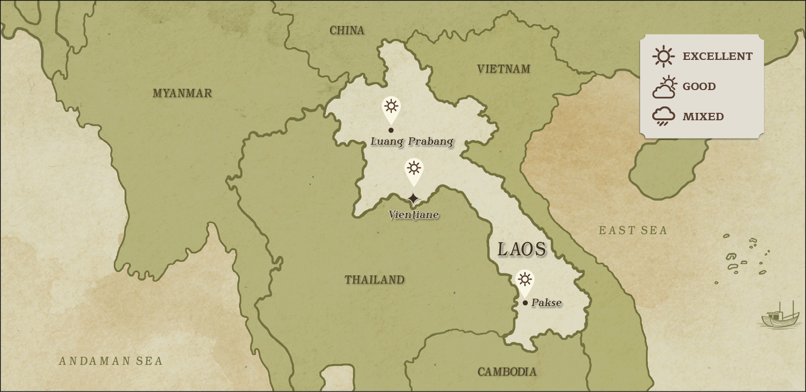 weather map of Laos December
