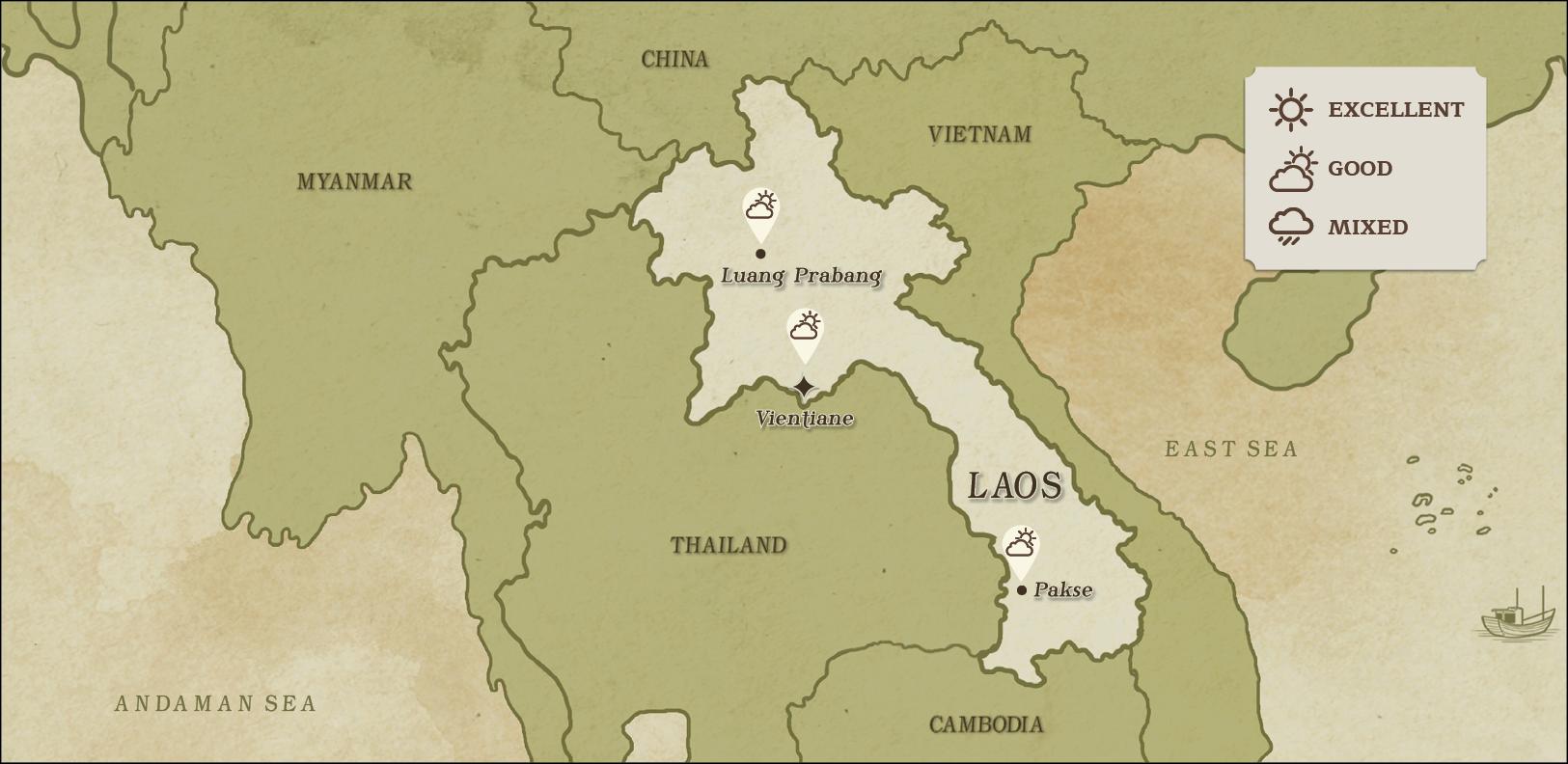 weather map of Laos April