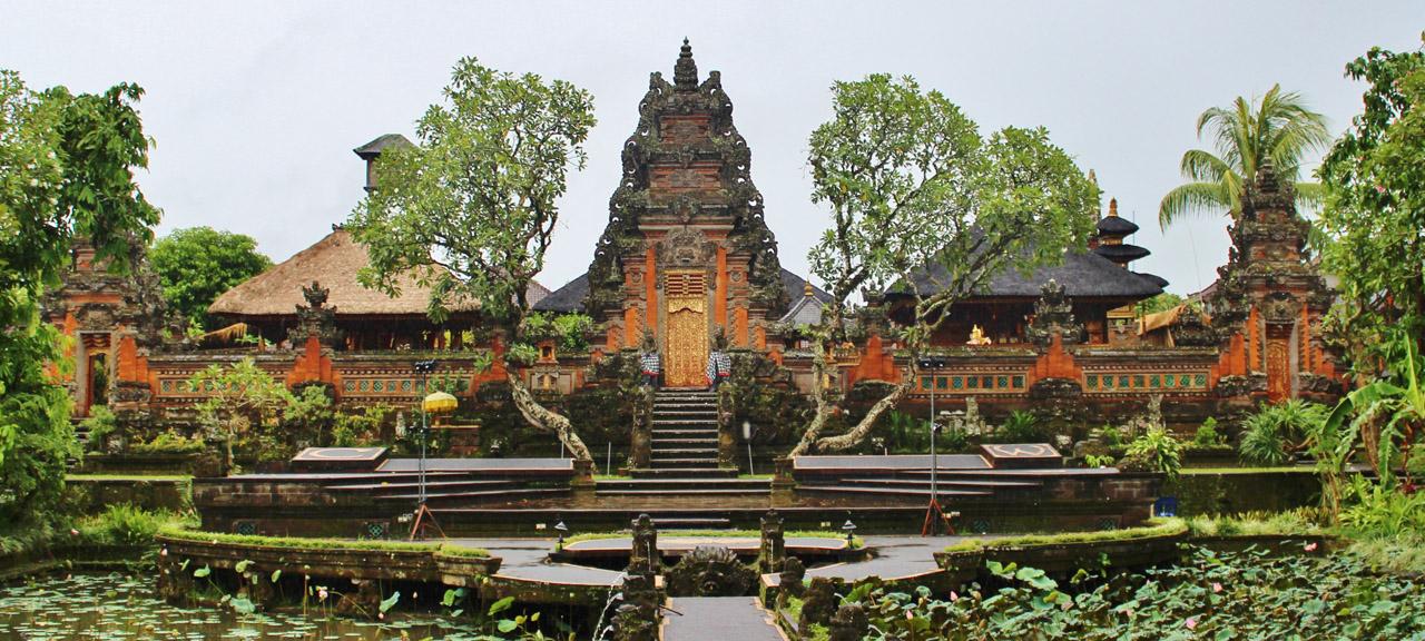Pura Taman Kemuda Saraswati Temple in Ubud, Bali island, Indonesia