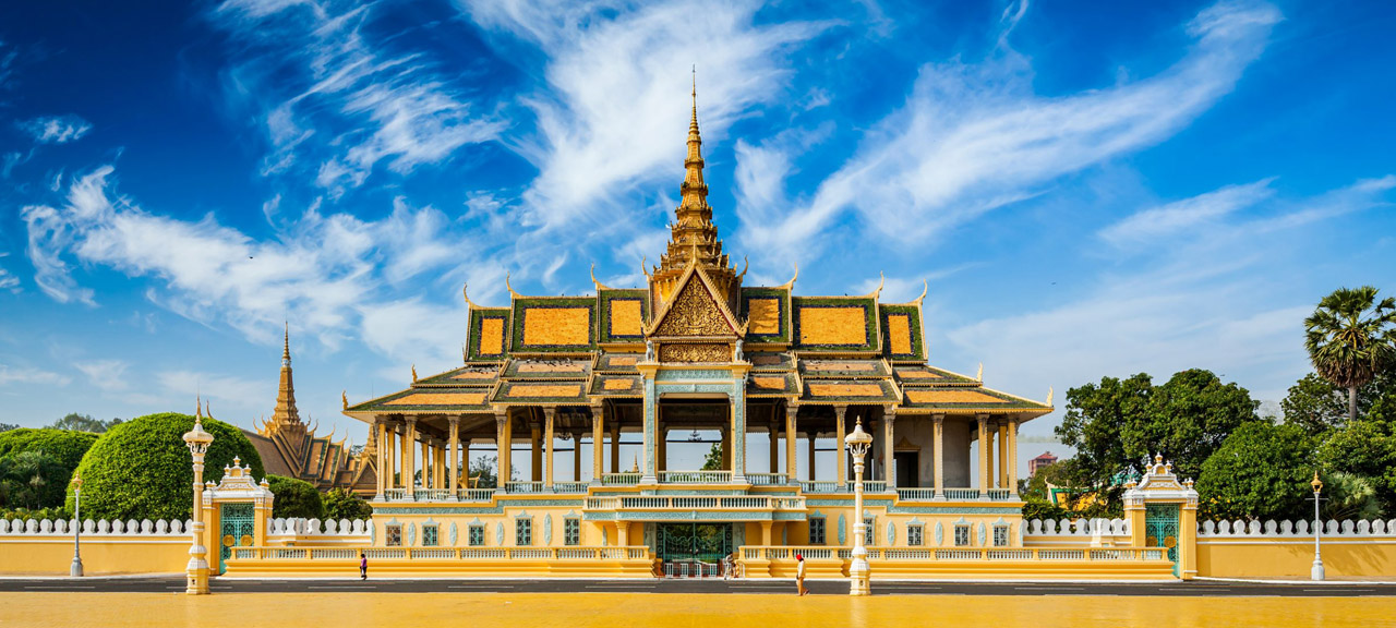 Blue Skies over the Moonlight Pavilion at the Royal Palace in Phnom Penh, Cambodia