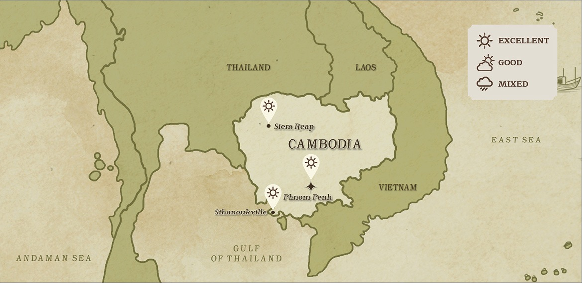 Map of Cambodian and surrounding areas weather in January