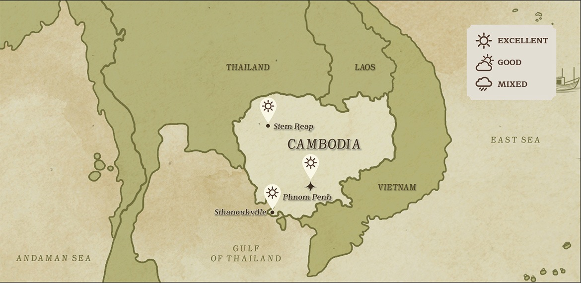 Map of Cambodian and surrounding areas weather in March