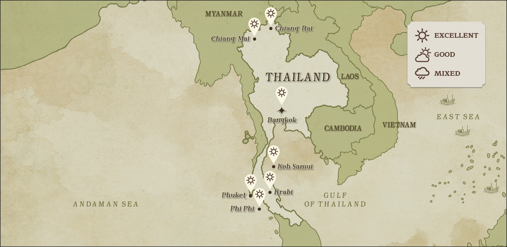 THAILAND WEATHER MAP february
