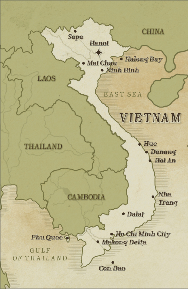 Map of Vietnam as country to describe it as a destination for travel