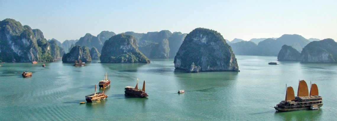 Junk Boats Sailing In Halong Bay
