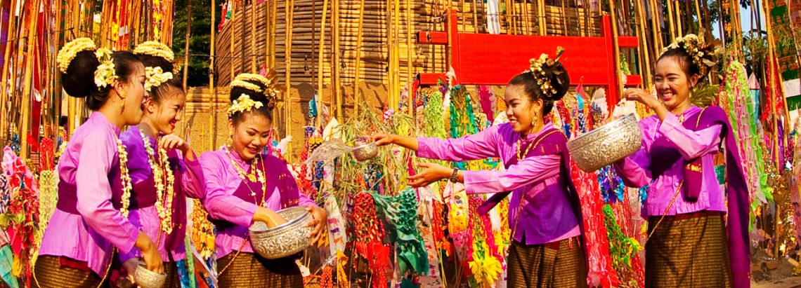 Traditional Thai crafts in a silk market