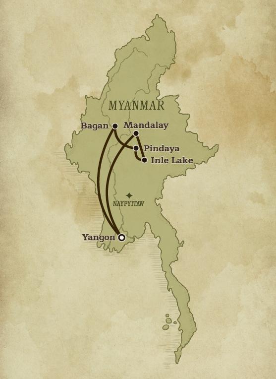 Map Of Myanmar for Art Treasures of Myanmar tour