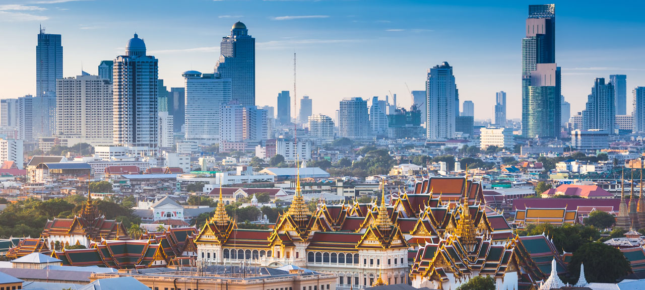 Cityscape view of The Grand Palace and the Temple of the Emerald Buddha, Bangkok