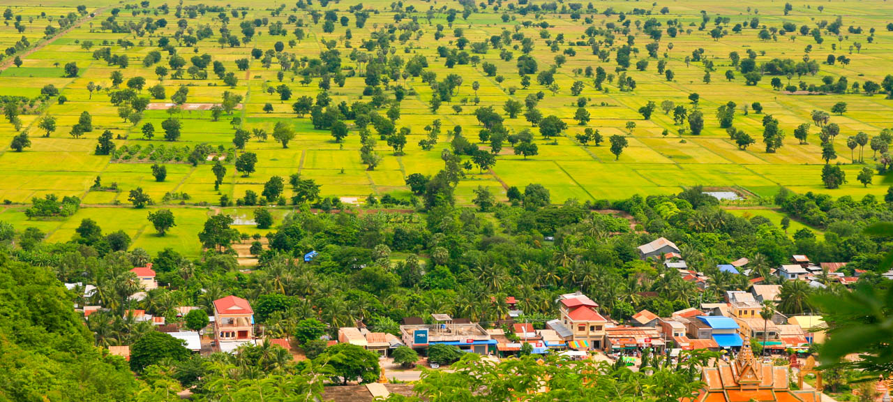 Aerial View of Phonm Sampeau mountains in Battambang, Cambodia