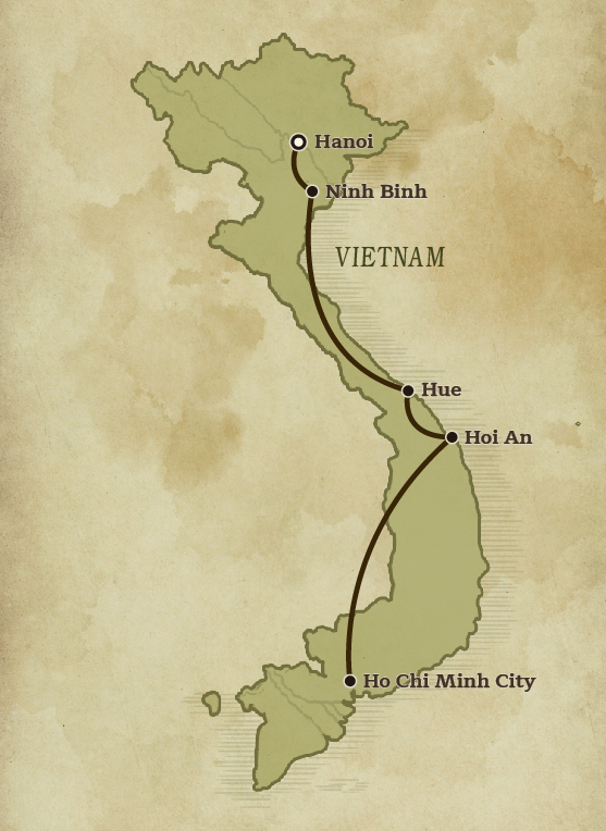 Map of Vietnam for the Heritage and Traditions of Vietnam tour