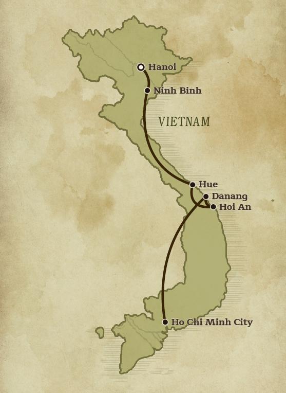 Map of Vietnam plotting the rout of the Vietnam Cultural Exploration for Families tour