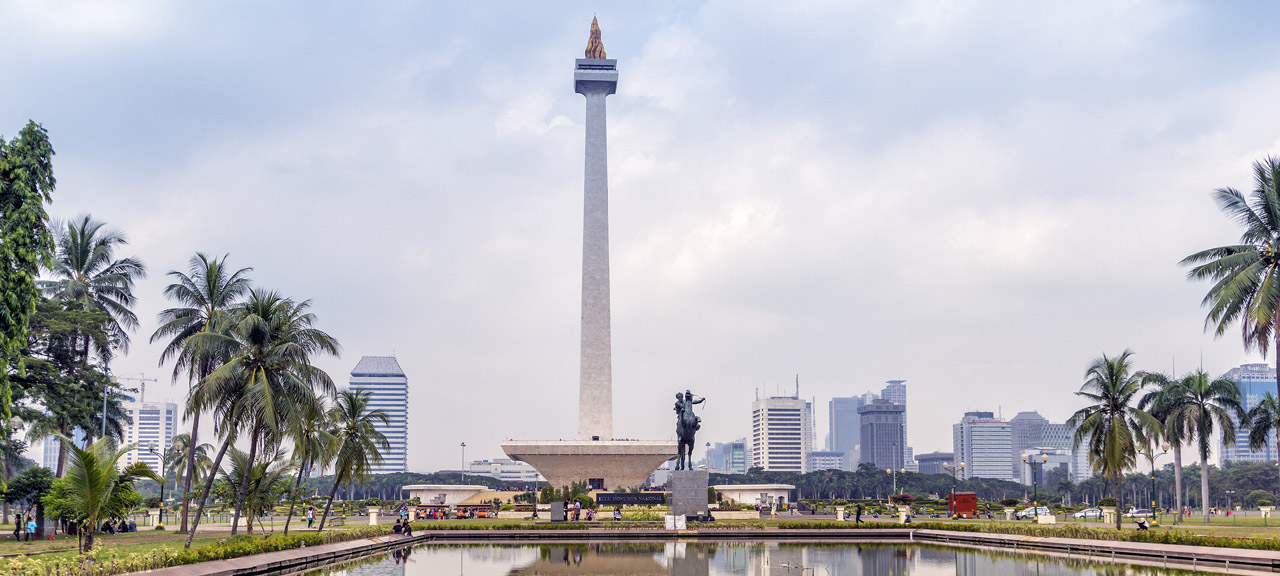 National Monument Monas. Merdeka Square and Pool of Reflection, Central Jakarta, Indonesia