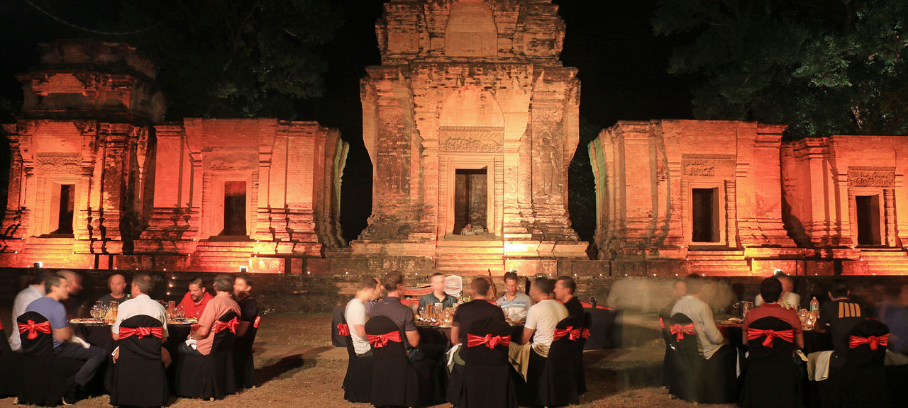 Mice event at night in front of Angkor Wat Complex in Cambodia
