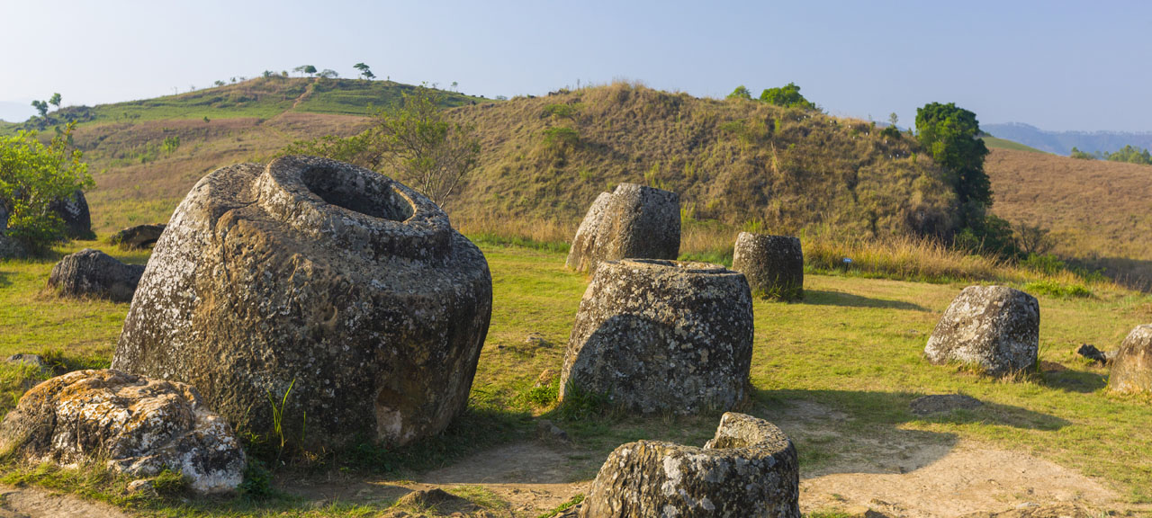 Remnants of giant jars on the Plain of Jars, Phonsavan, Laos