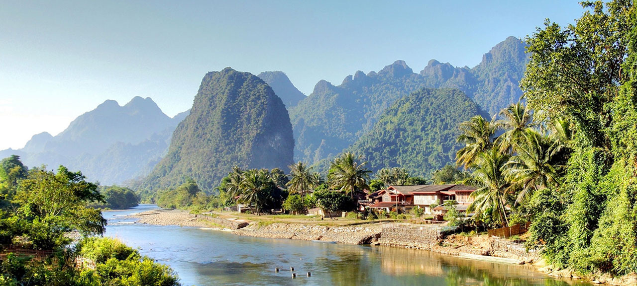 The surreal beauty and Landscape of the Song river at Vang Vieng, Laos