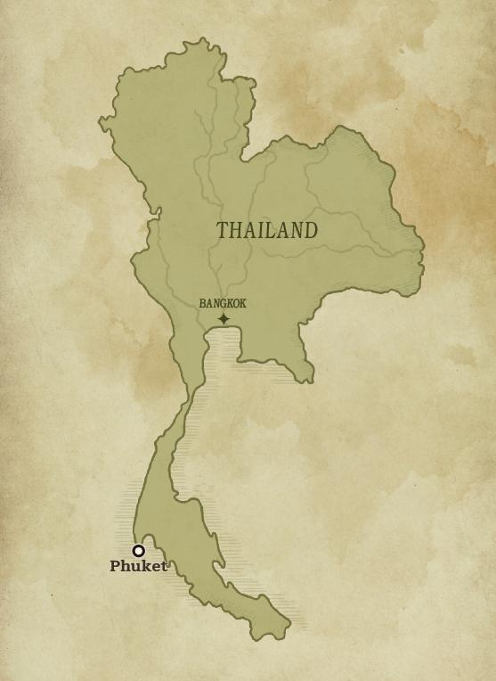Map of Thailand showcasing Phuket