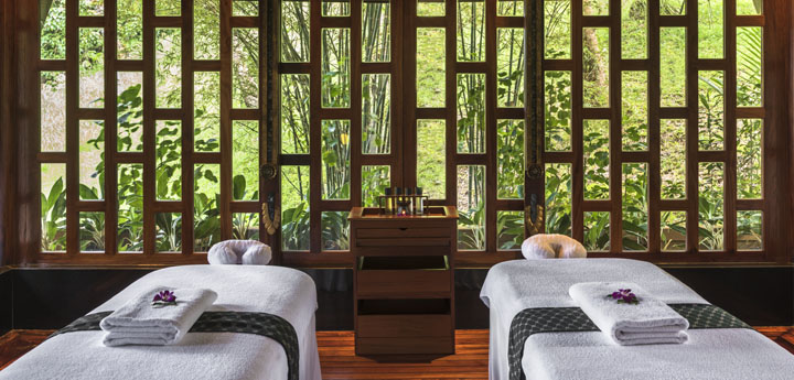 View of the Amanpuri spa room overlooking the calm and peaceful lush jungle, Phuket, Thailand