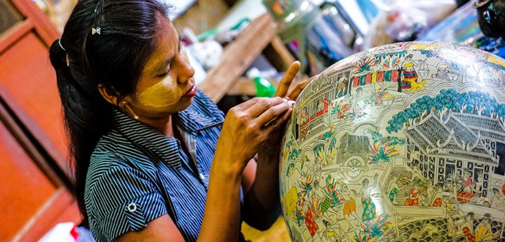 Traditional Myanmar Woman Makes Paper Mache Sculpture