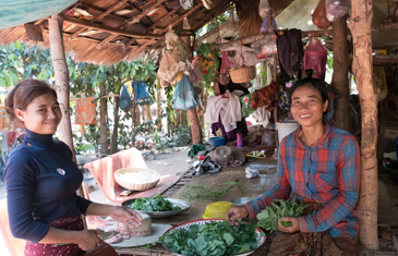 Cooking with a local family in Cambodia