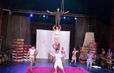 Acrobats creating a human chain at the circus In Seim Ream Cambodia