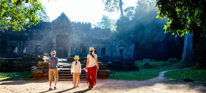 Young Family Visits The Ankor Wat Complex Cambodia