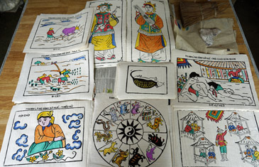 Examples of the 400-year-old folk painting craft on dzo paper of northern Vietnam