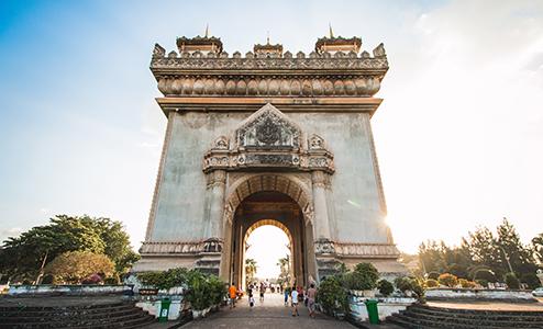Patuxai is a war memorial built in the 1960s, resembling France's Arc du Triumph