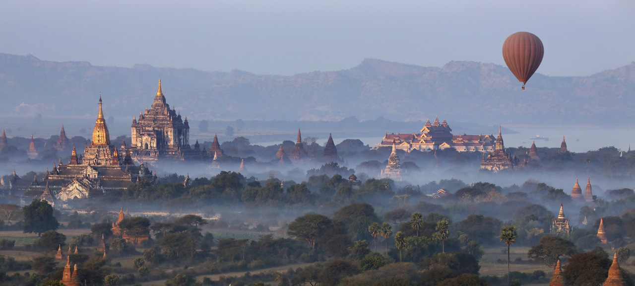 Hot Air Balloons Fly Over Golden Temples in Bagan