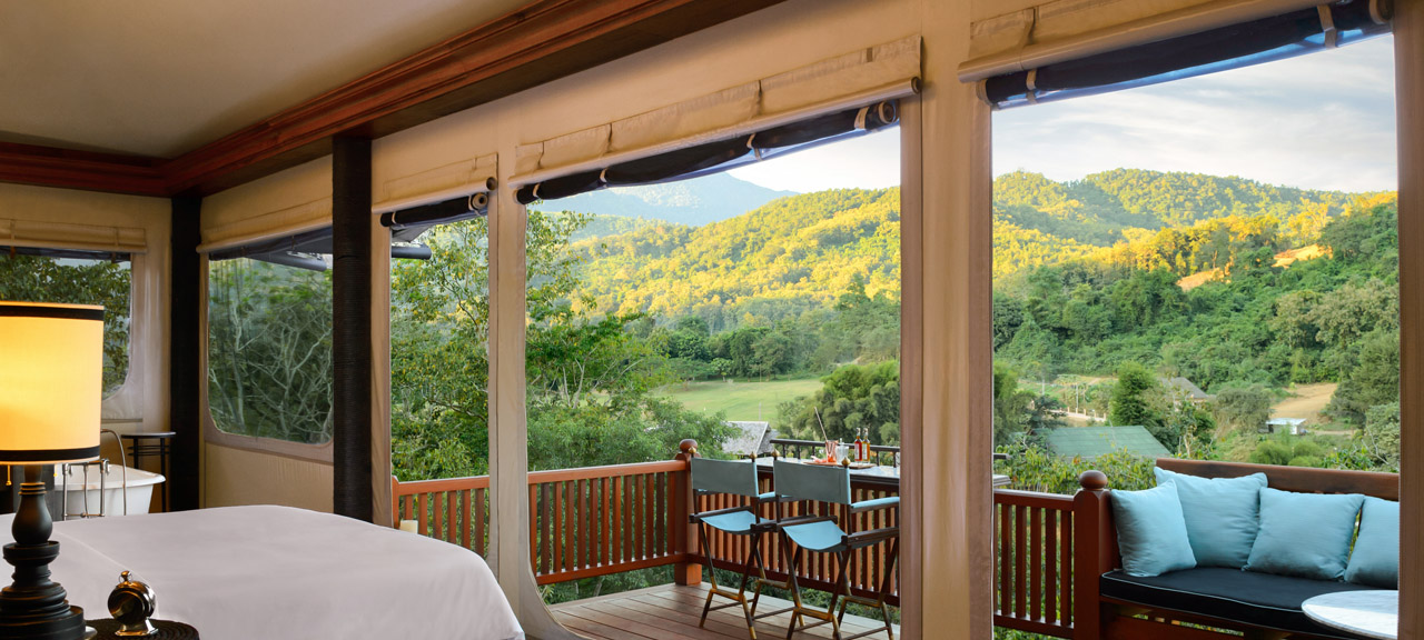 View from inside the beautiful Bill Bensley resort with riverside views of the natural Forrests from Hilltop Tented suites.