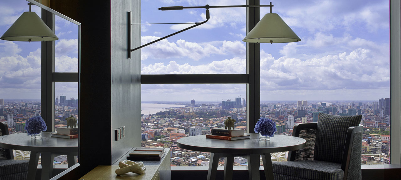View over Phnom Penh from your breakfast nook in the Rosewood Phnom Penh Suites