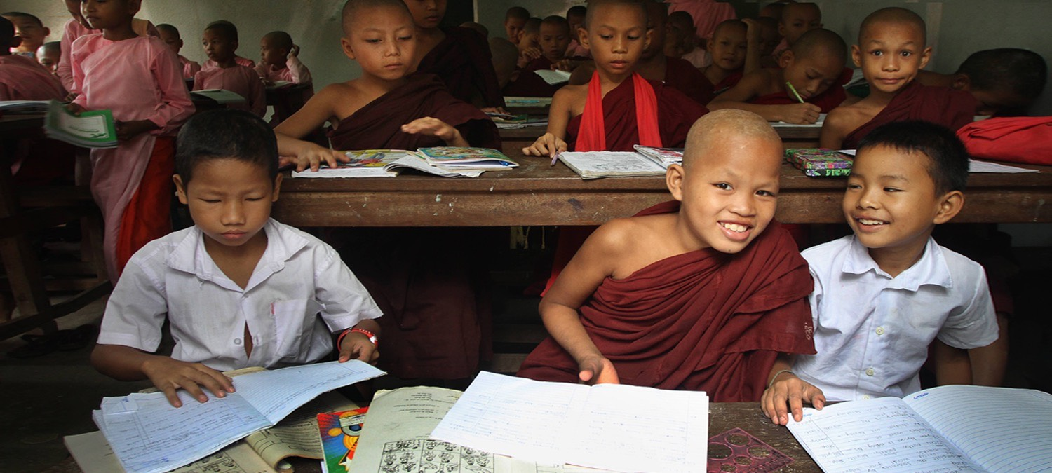 Young monks at school in Myanmar