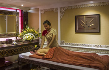 Woman receives a massage in the spa abroad the majestic Anawrahta, Myanmar