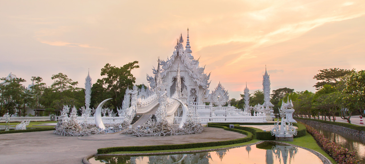 Wat Rong Khun the White temple, Chiangrai, Thailand at Sunset