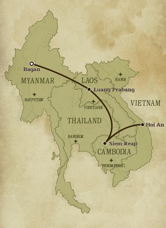 Map of Myanmar, Thailand, Cambodia, Vietnam & Laos