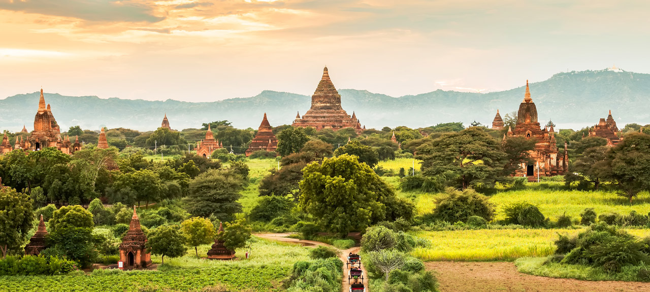 At sunrise over Myanmar's most sacred Buddhist site, Shwezigon Pagoda built in the 11th century