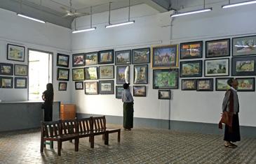 Water Colour Paintings Displayed In Art Gallery In Myanmar