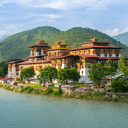 Beautiful Punakha Dzong overlooks the convergence of two of Bhutan's important rivers.