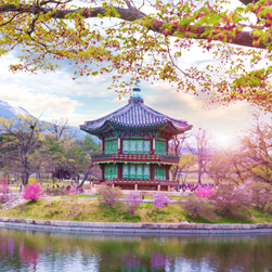 Sunrise at the water pavilion in the Gyeongbokgung palace of the land in Seoul, South korea.