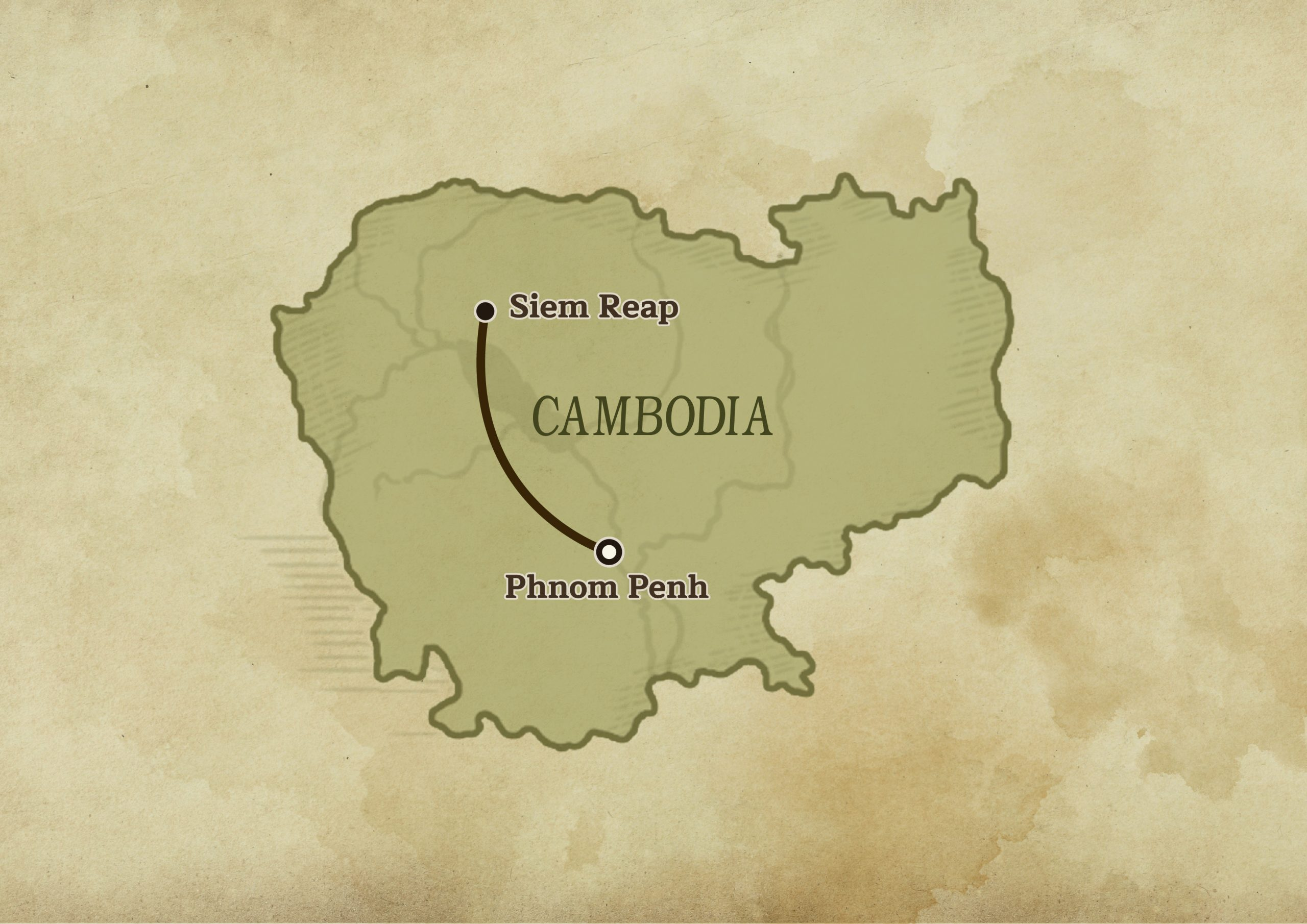 Map of Cambodia showing the distance between Phnom Penh and Seim Reap