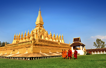 That Luang a 44m high gold covered Buddhist stupa