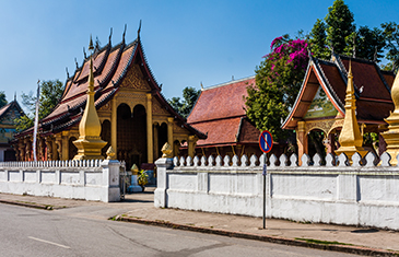 View of Wat Sene, Temple of a 100,000 Treasures in Luang Prabang, Laos