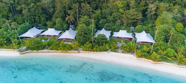Beautiful Villas along the beach at the Bawah Reserve in Anambas Kiabu, Indonesia