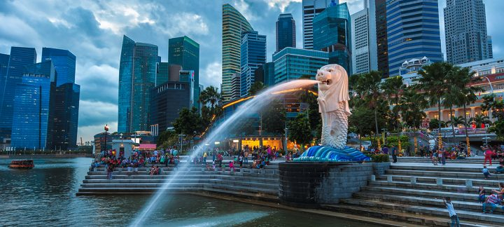 View of the Lion Fountain at dusk at the Merlion Park a famous Singapore landmark