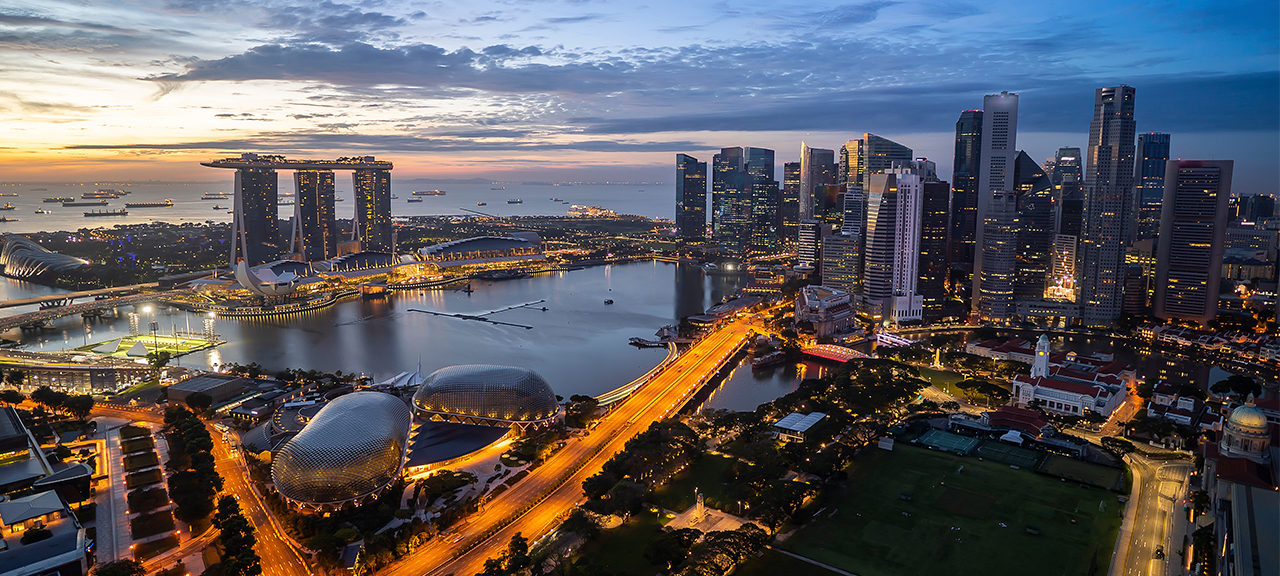 Stunning Aerial View of Singapore at Sunset