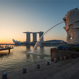 The Marina Bay Sands at Sunrise in Singapore. Opening in 2010, it was billed as the world's most expensive standalone casino property.