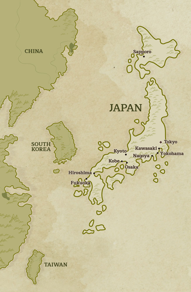 Overview Map of Japan outlining key city destinations for travel