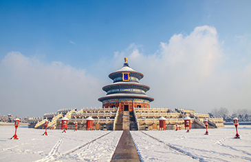 The Temple of heaven in Beijing on a clear frosty winter day