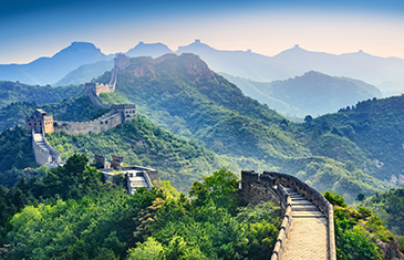 View overlooking the Great Wall of China on a misty morning