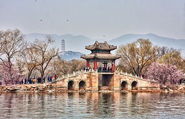 View across the river looking at the Summer Palace in Beijing